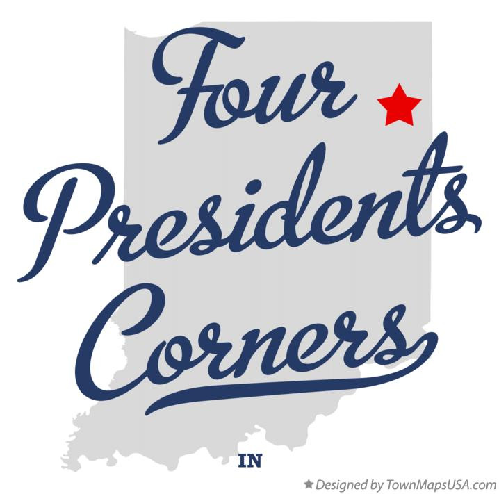 Map of Four Presidents Corners Indiana IN