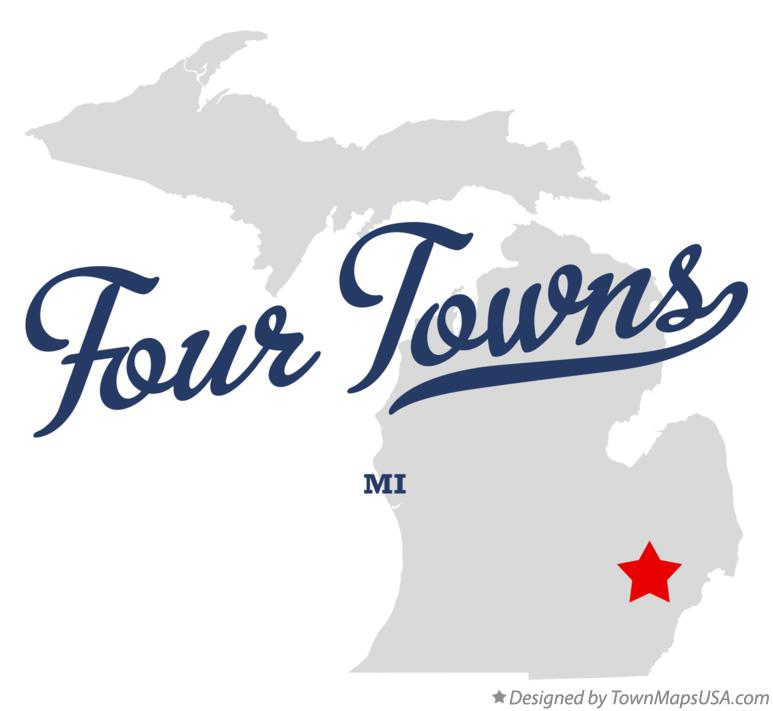 Map of Four Towns Michigan MI