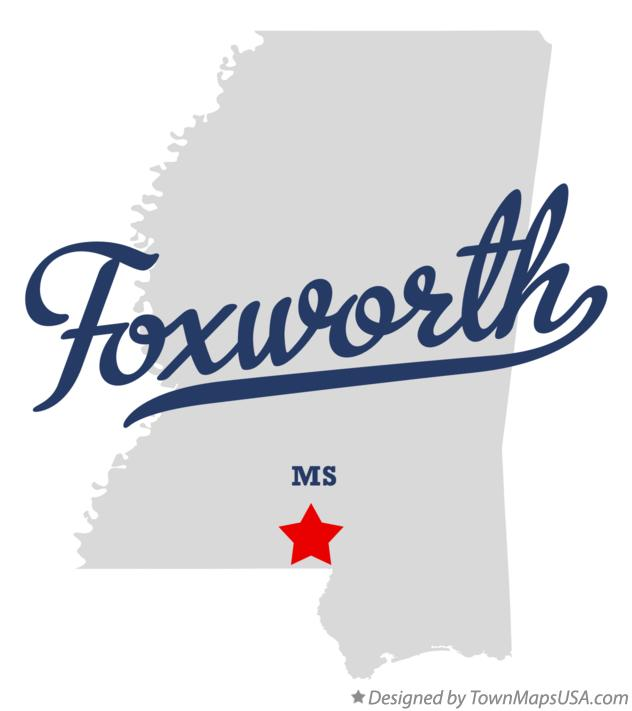 Map of Foxworth Mississippi MS