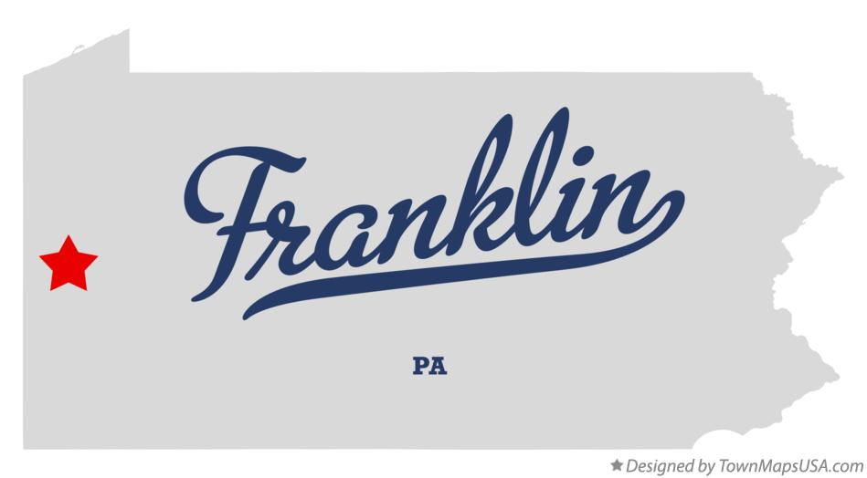 Map of Franklin Pennsylvania PA