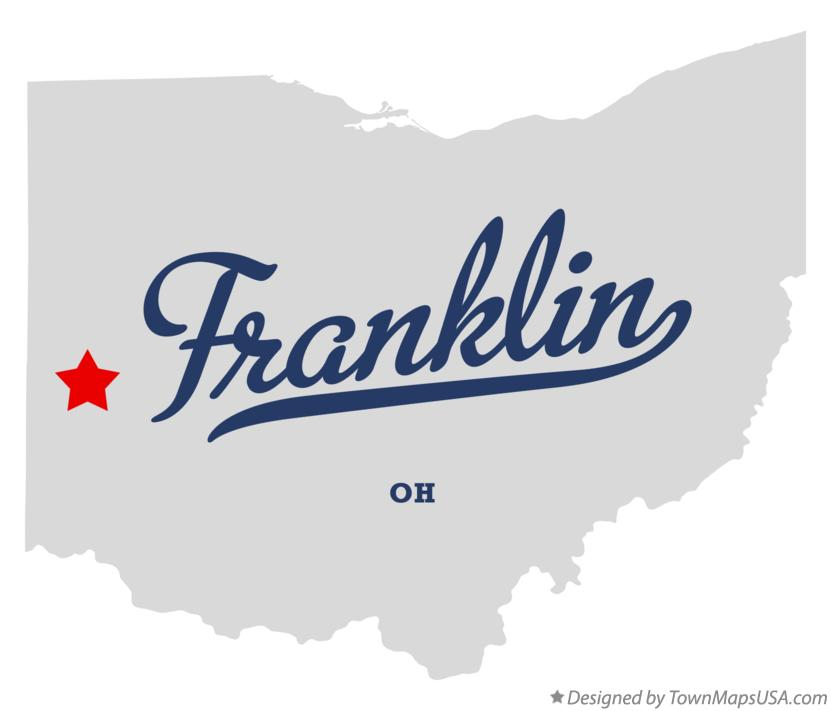 Map of Franklin Ohio OH
