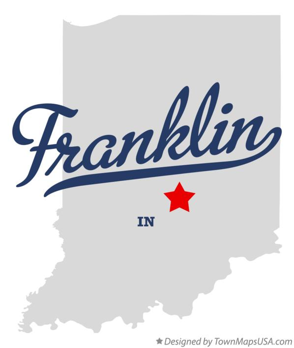 Map Of Franklin Johnson County In Indiana