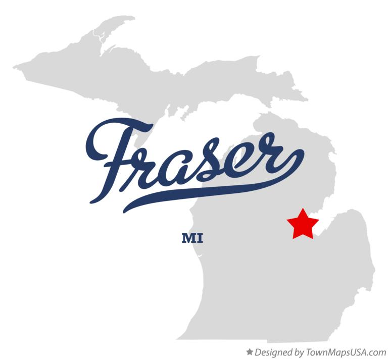 Map of Fraser Michigan MI