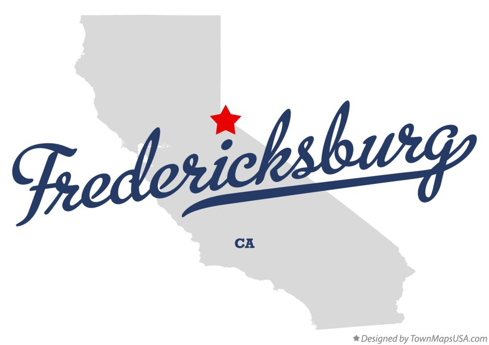 Map of Fredericksburg California CA