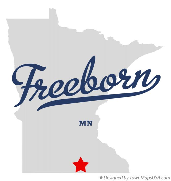 Map of Freeborn Minnesota MN