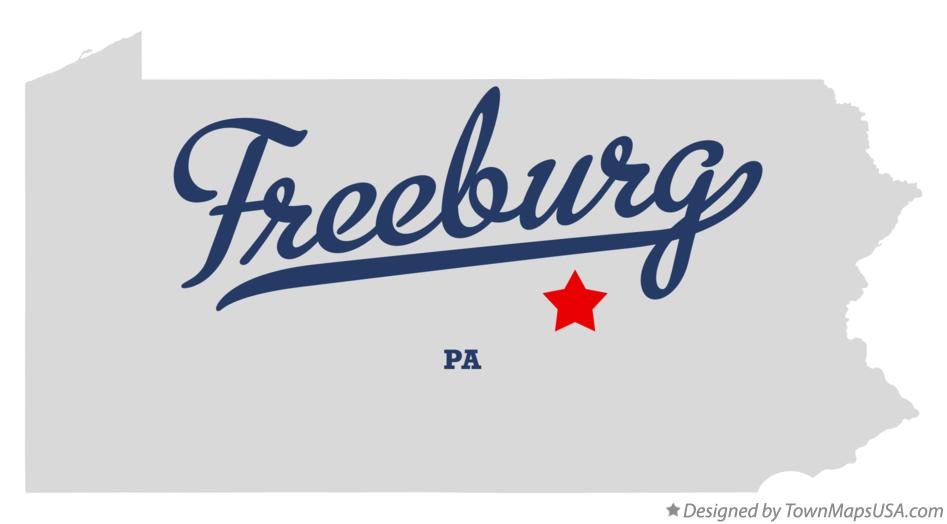 Map of Freeburg Pennsylvania PA
