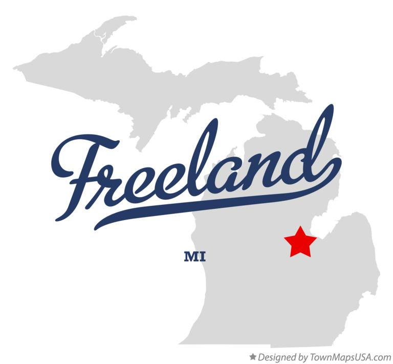 Map of Freeland Michigan MI