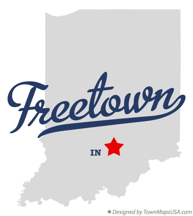 Map of Freetown Indiana IN