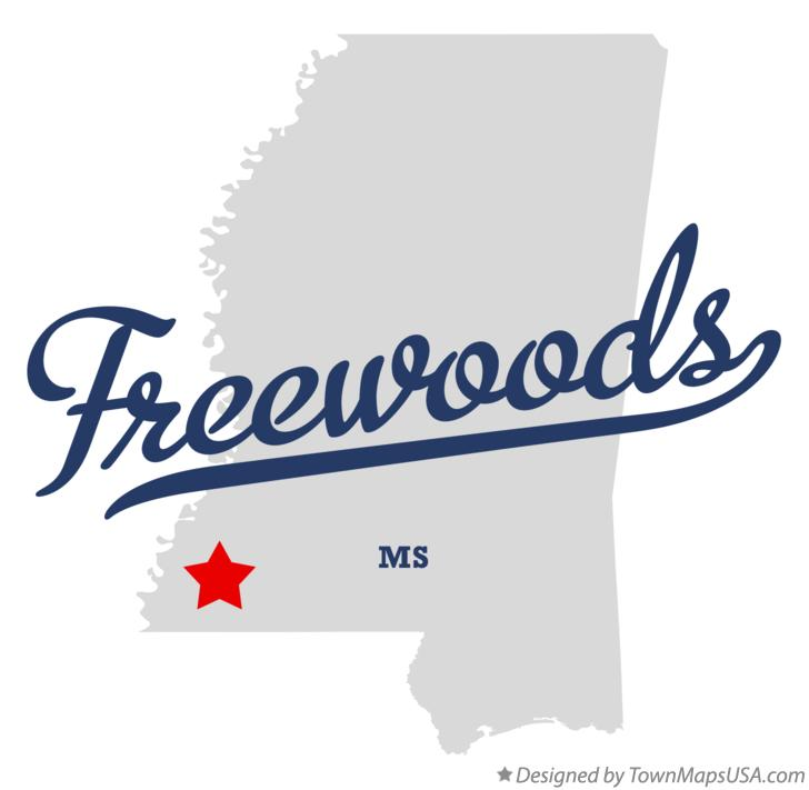 Map of Freewoods Mississippi MS