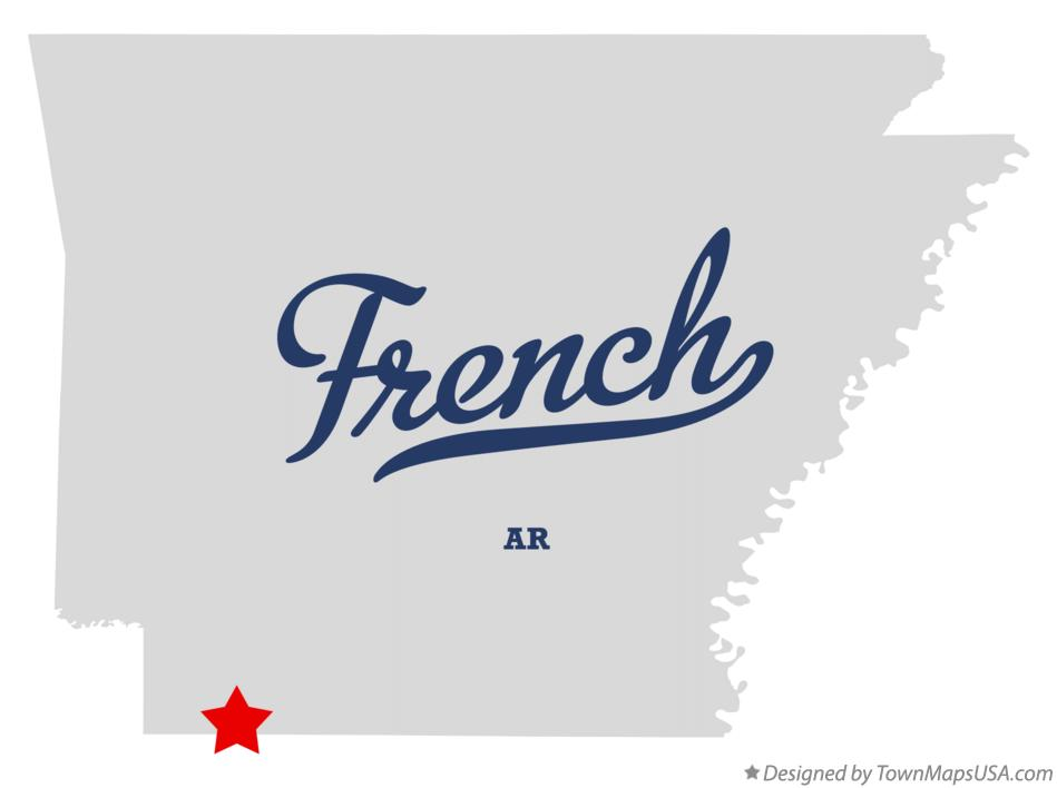 Map of French Arkansas AR