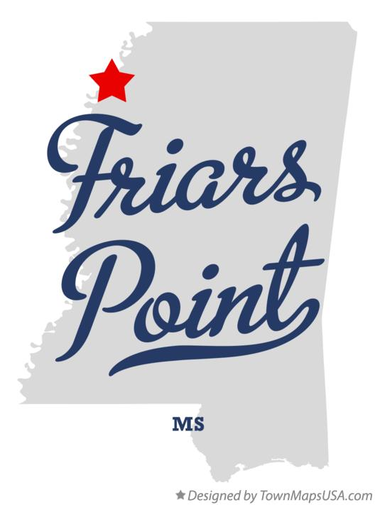 Map of Friars Point Mississippi MS