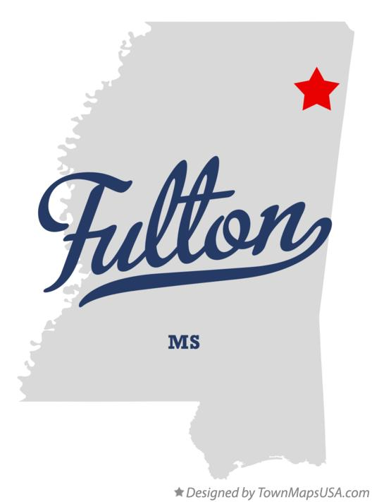 Map of Fulton Mississippi MS