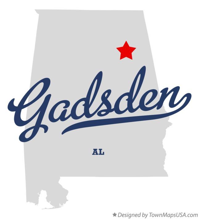 Map of Gadsden AL Alabama