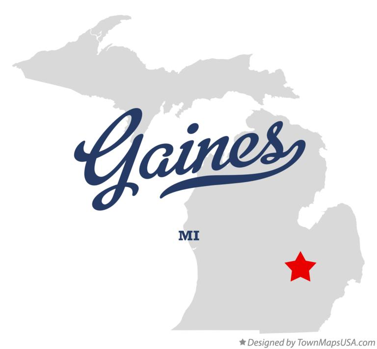 Map of Gaines Michigan MI