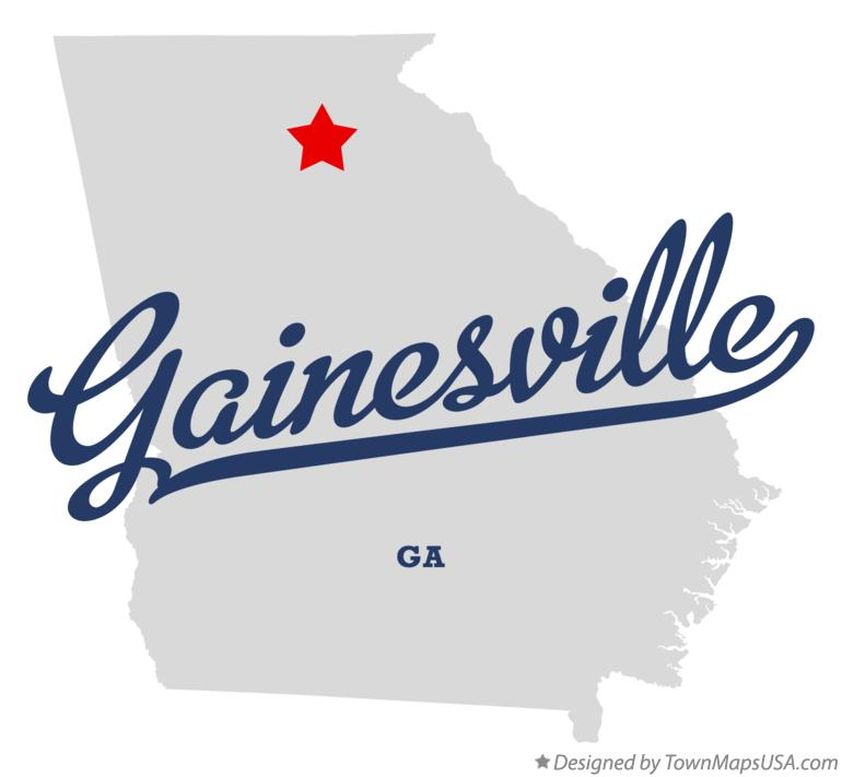 Map of Gainesville Georgia GA