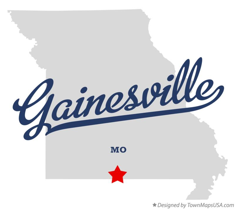 Map of Gainesville Missouri MO