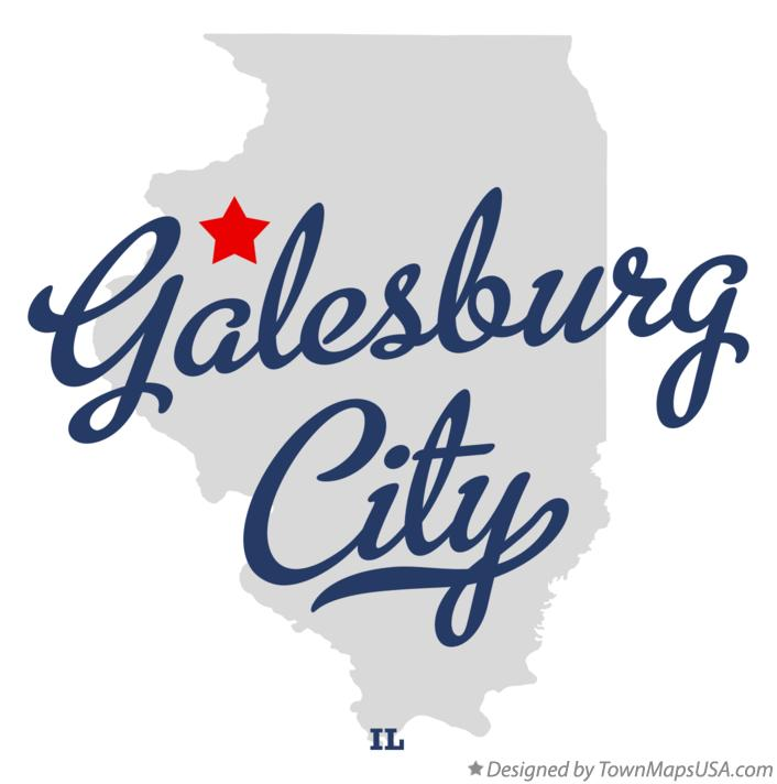 Map of Galesburg City Illinois IL