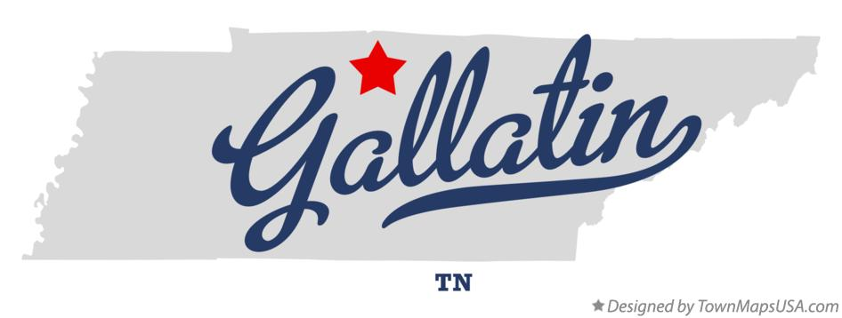 Map of Gallatin Tennessee TN