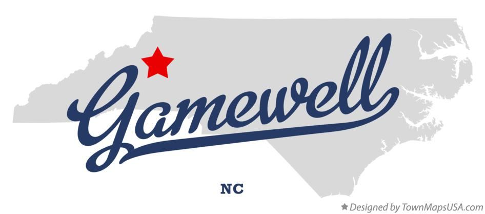 Map of Gamewell North Carolina NC