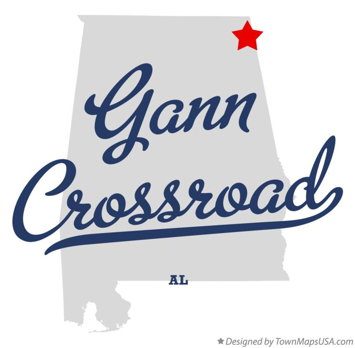 Map of Gann Crossroad Alabama AL