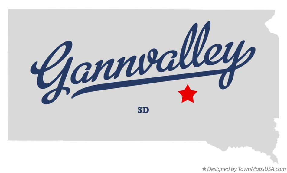 Map of Gannvalley South Dakota SD