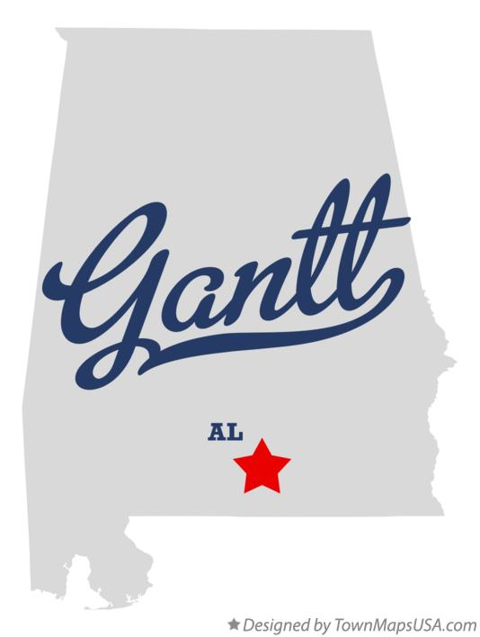 Map of Gantt Alabama AL