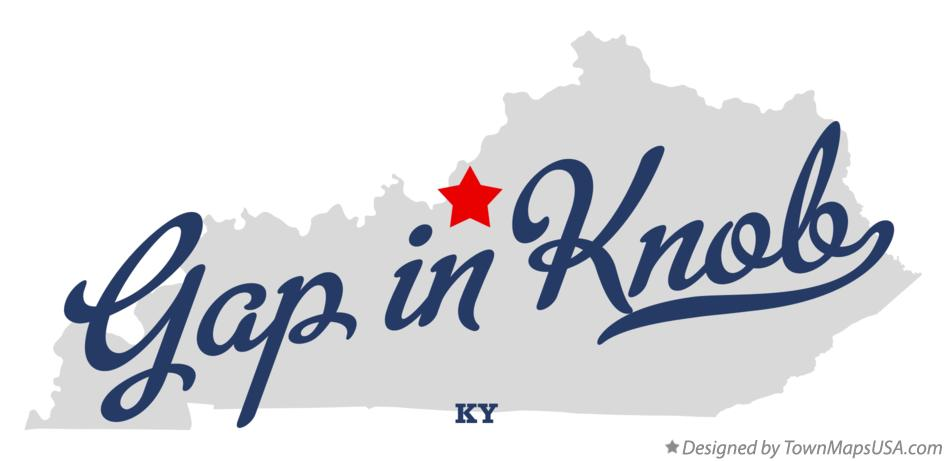 Map of Gap in Knob Kentucky KY