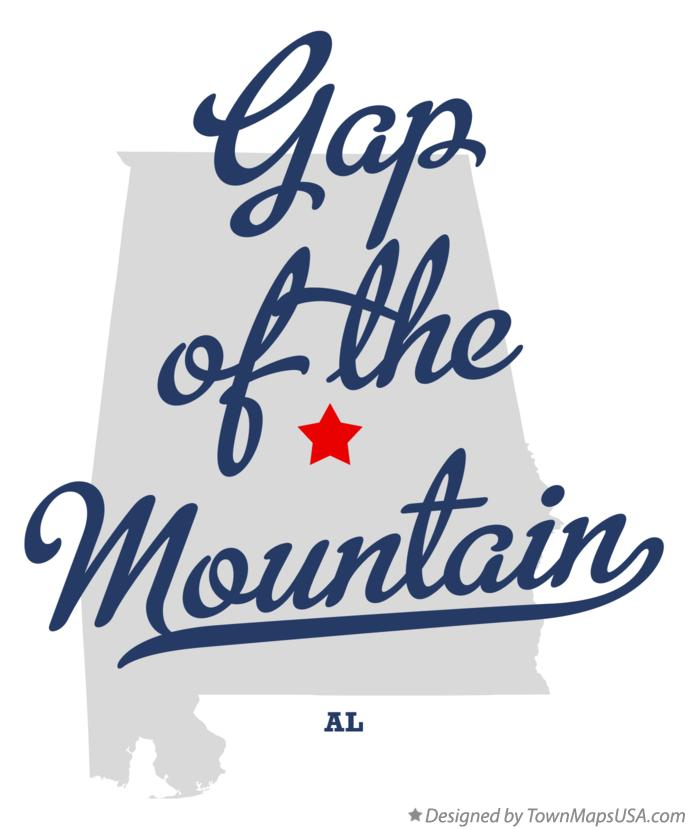Map of Gap of the Mountain Alabama AL