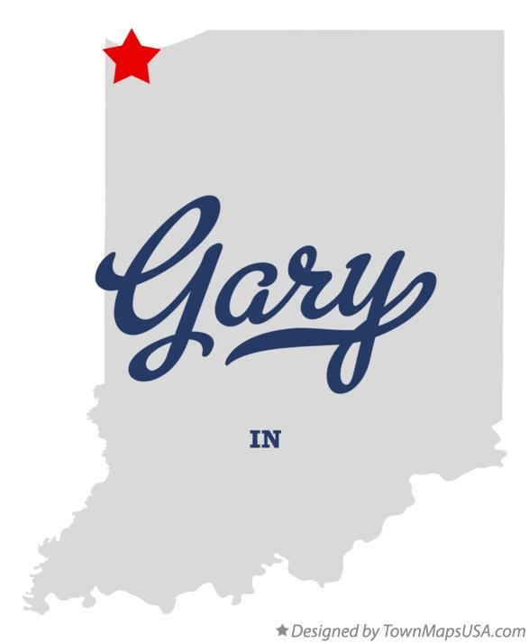 Map of Gary, IN, Indiana