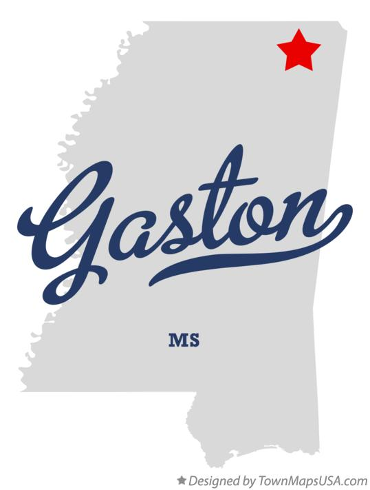 Map of Gaston Mississippi MS