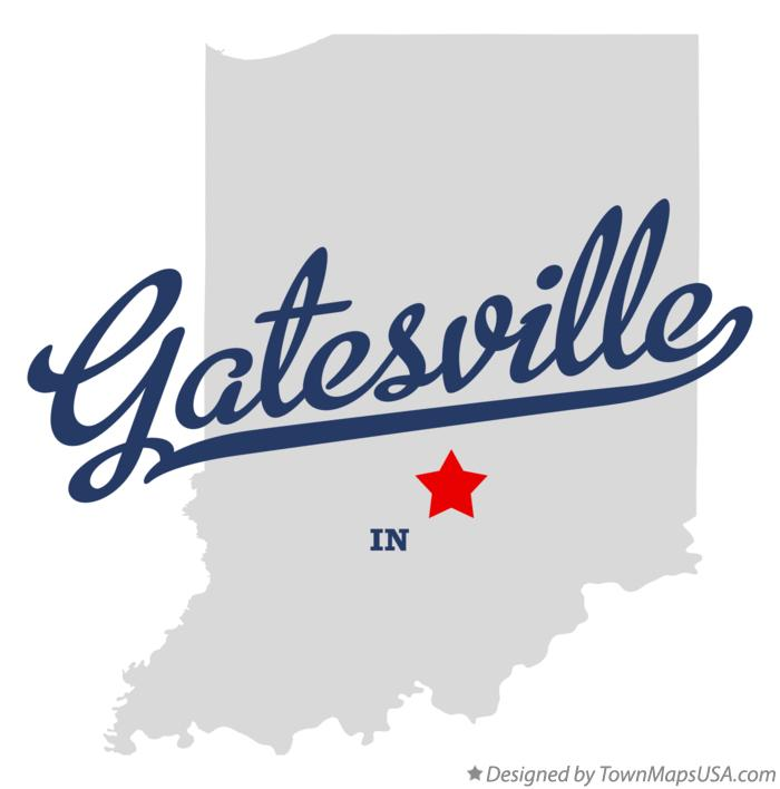 Map of Gatesville Indiana IN