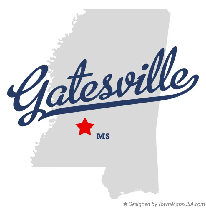 Map of Gatesville Mississippi MS