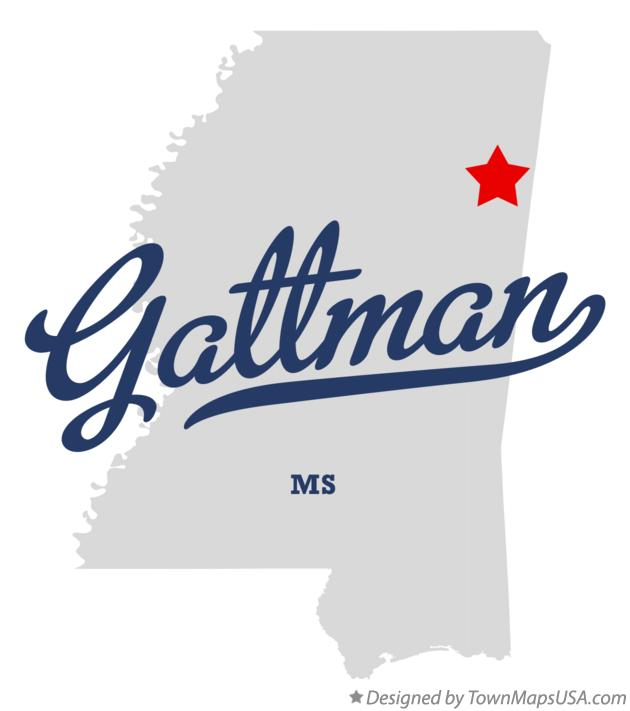 Map of Gattman Mississippi MS