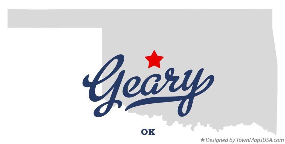 Map of Geary Oklahoma OK
