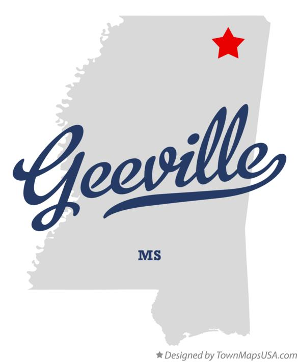 Map of Geeville Mississippi MS
