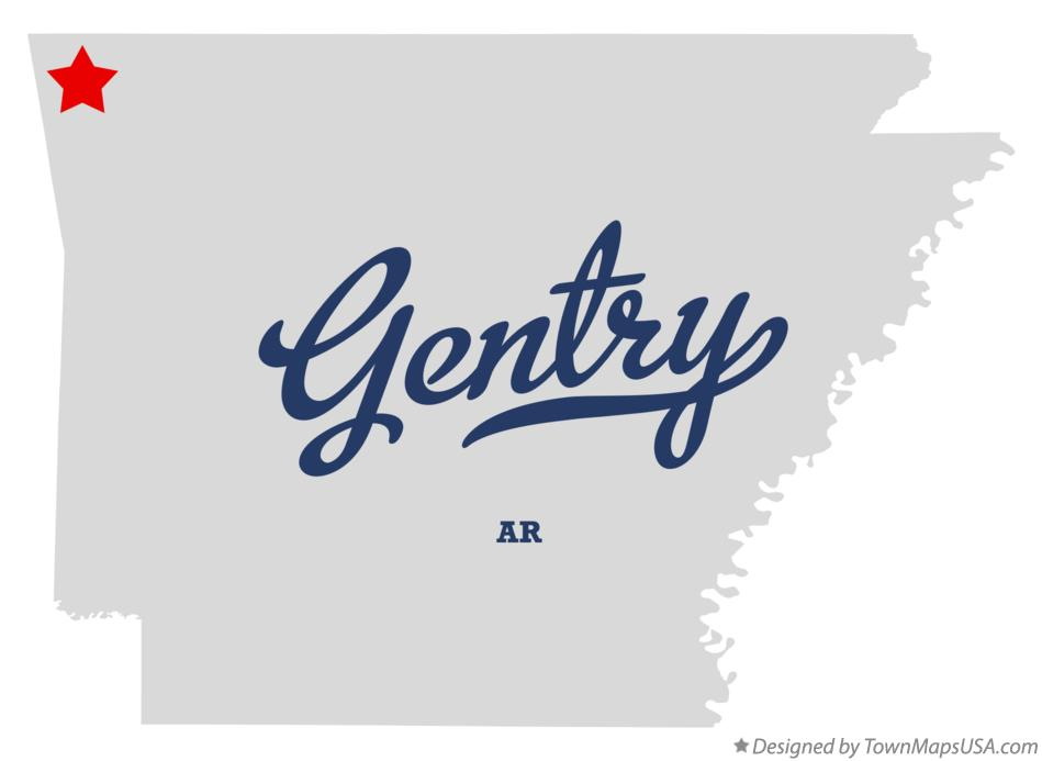 Map of Gentry Arkansas AR