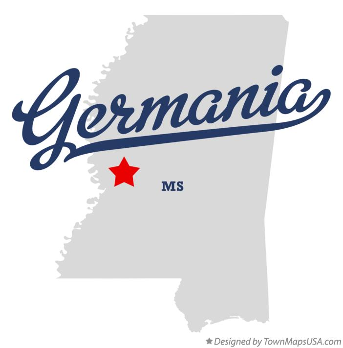 Map of Germania Mississippi MS