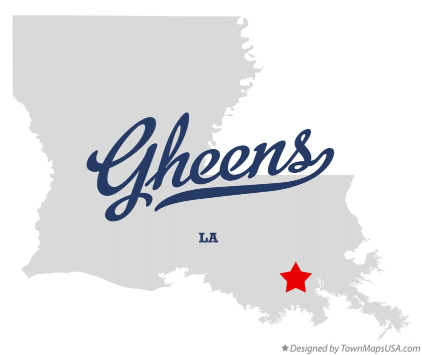 Map of Gheens Louisiana LA