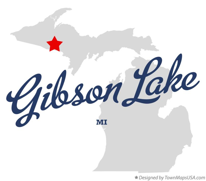 Map of Gibson Lake Michigan MI