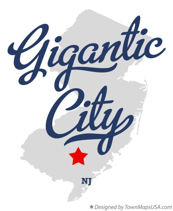 Map of Gigantic City New Jersey NJ
