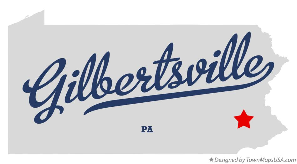 Map of Gilbertsville Pennsylvania PA