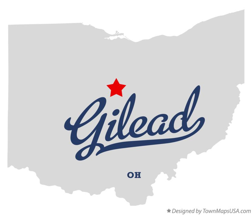 Map of Gilead Ohio OH