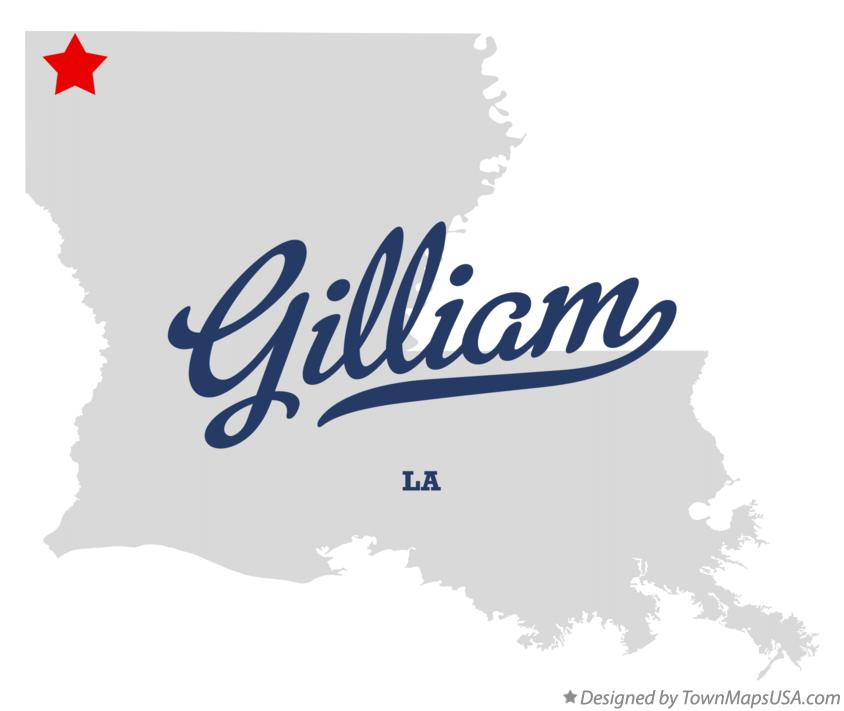 Map of Gilliam Louisiana LA