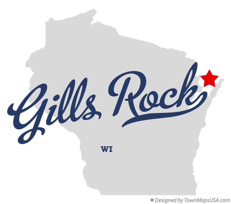 Map of Gills Rock Wisconsin WI