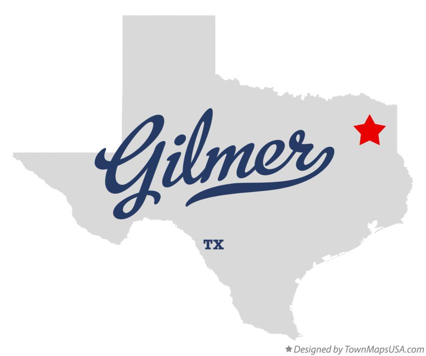 Map of Gilmer Texas TX