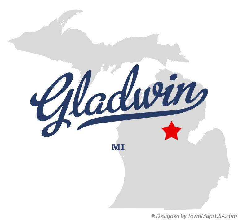 Map of Gladwin Michigan MI