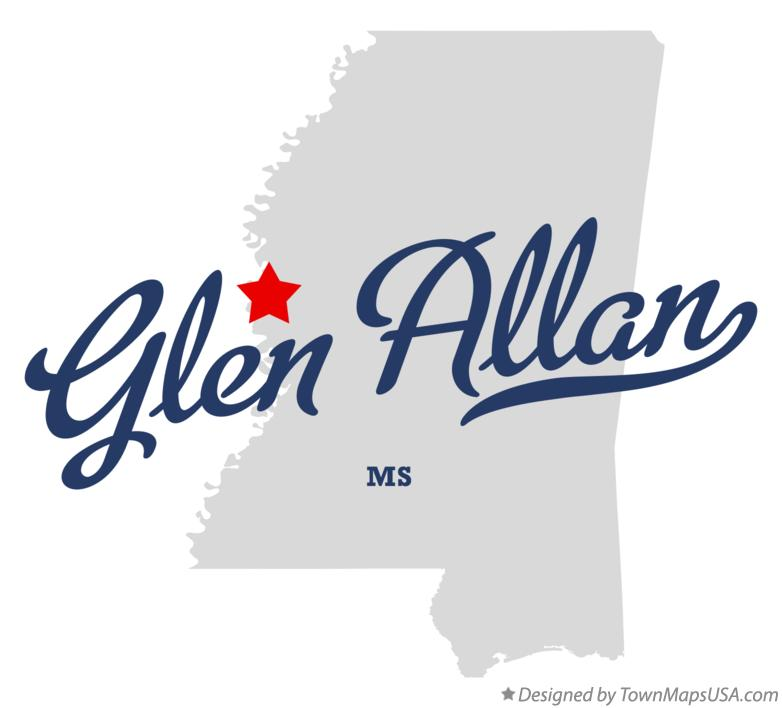 Map of Glen Allan Mississippi MS