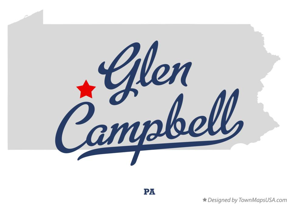 Map of Glen Campbell Pennsylvania PA