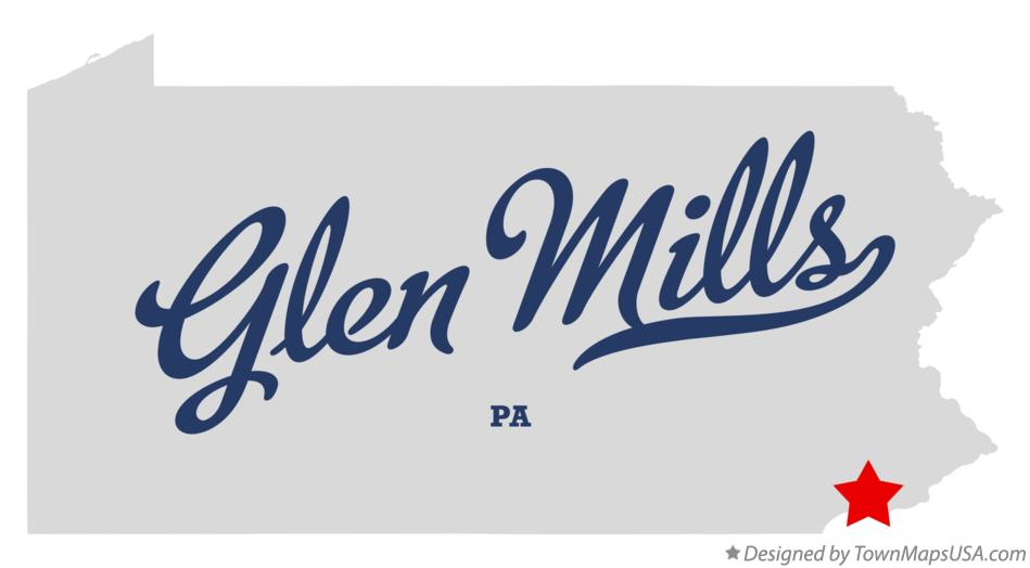 Map of Glen Mills Pennsylvania PA