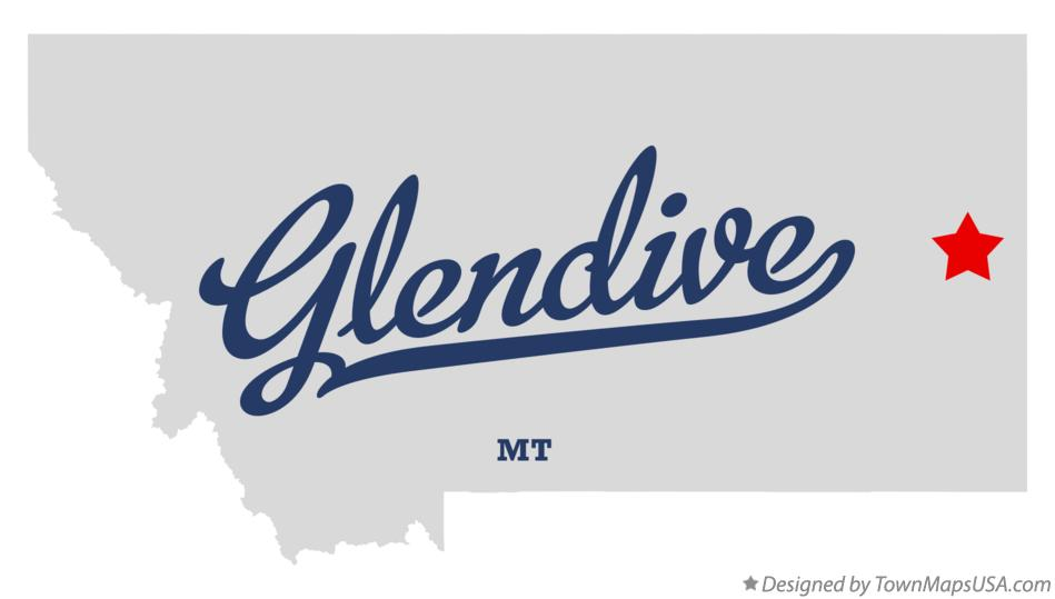 Map of Glendive Montana MT